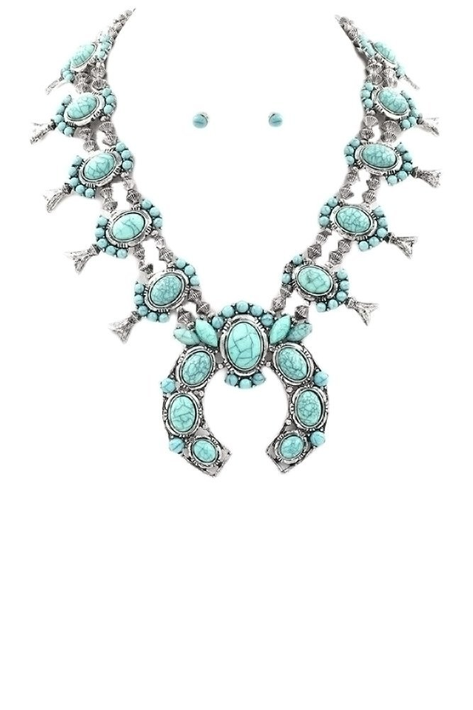 Tribal Squash Blossom Necklace & Earrings Set-Turq-Silv