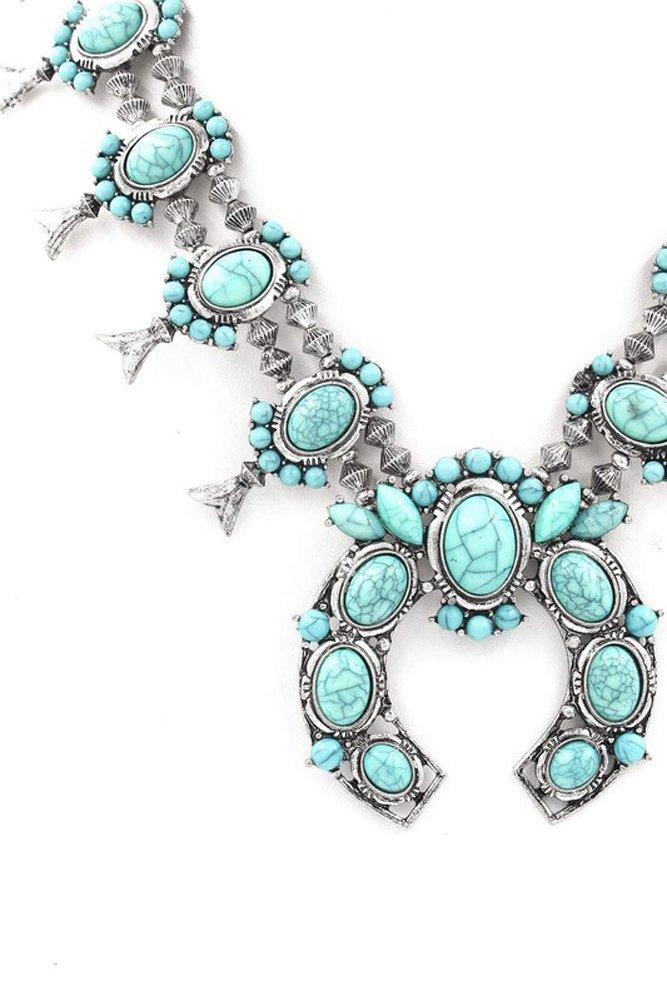 Tribal Squash Blossom Necklace & Earrings Set-Turq-Silv - 2