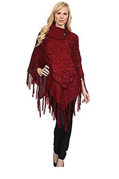 Shimmer Cable Knit Poncho Sweater & Bag - RED -One Size