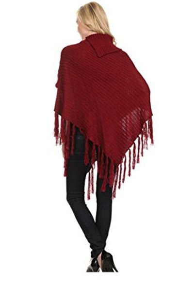 Shimmer Cable Knit Poncho Sweater & Bag - RED -One Size - 2
