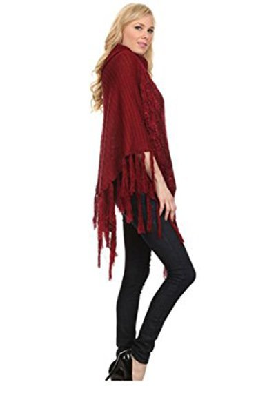 Shimmer Cable Knit Poncho Sweater & Bag - RED -One Size - 3