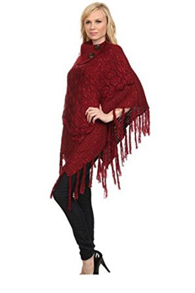 Shimmer Cable Knit Poncho Sweater & Bag - RED -One Size - 4