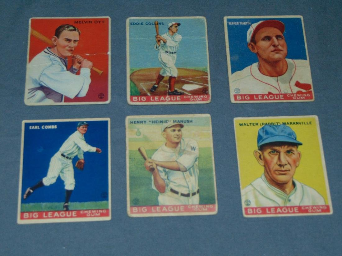 1933 Goudey Cards. Lot of Six Cards.