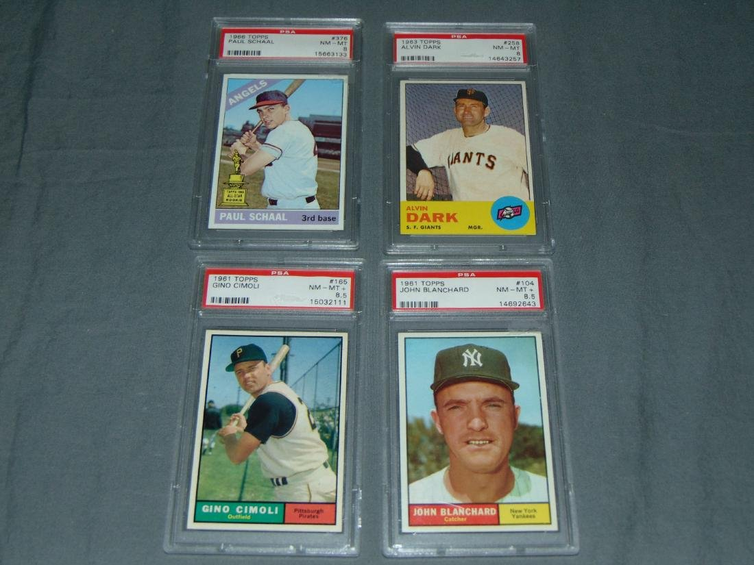Graded 1960's Topps Card Lot of Four.