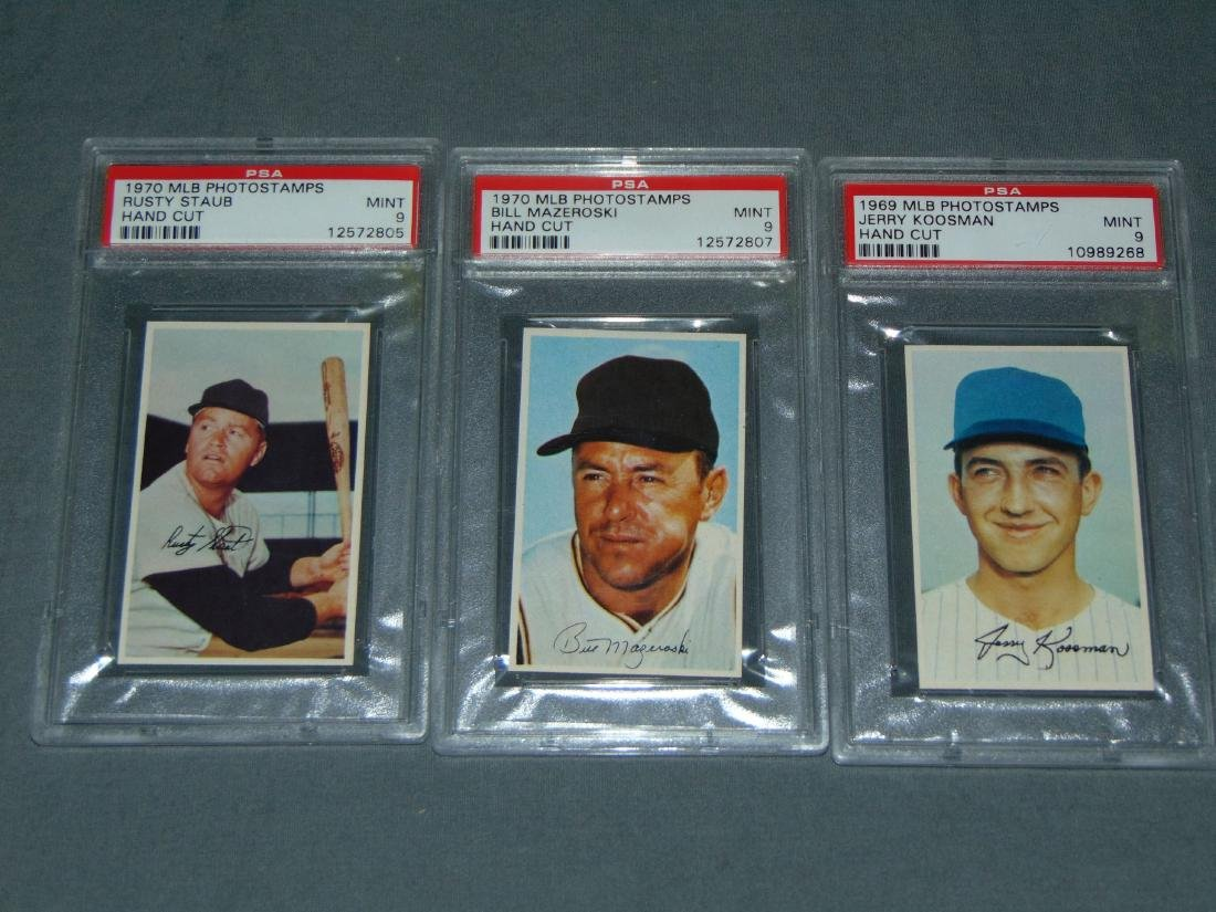 1969 MLB Photostamps Lot of Three Graded.