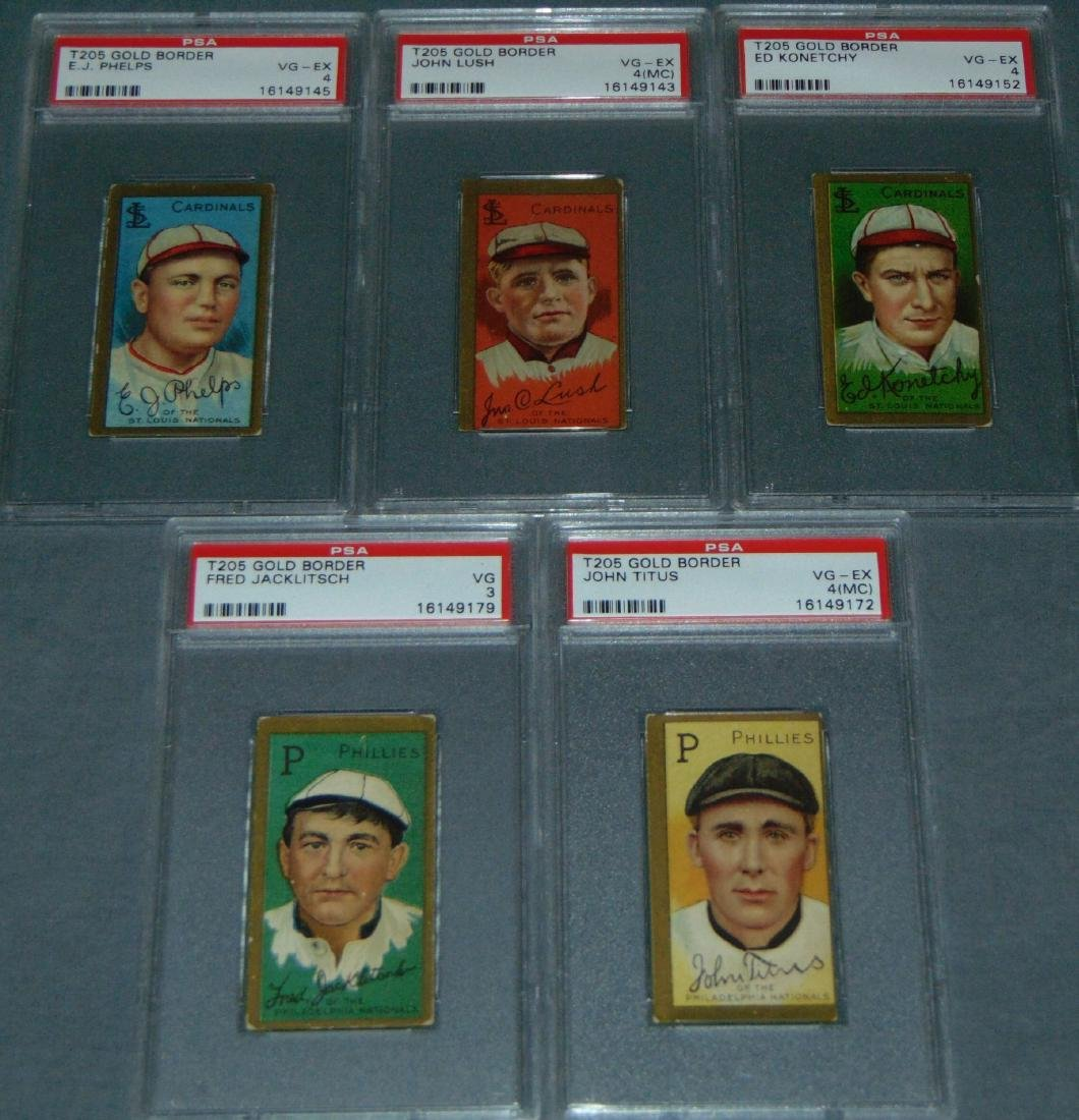 T-205 Lot of Five PSA Graded.