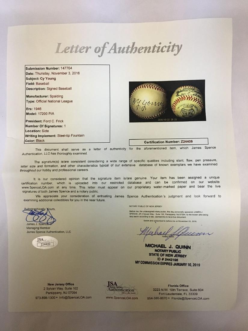 Single Signed Baseball. Cy Young. JSA. - 3