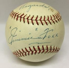Single Signed Baseball. Jimmie Foxx. JSA.