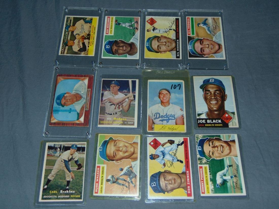 Brooklyn Dodgers Baseball Card Lot.