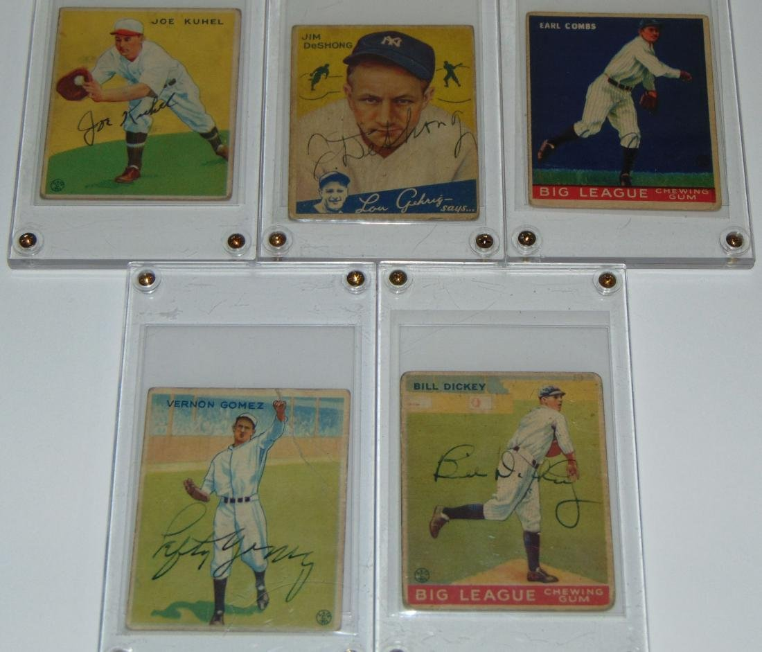 1933 Goudey. Lot of Five Signed Cards.