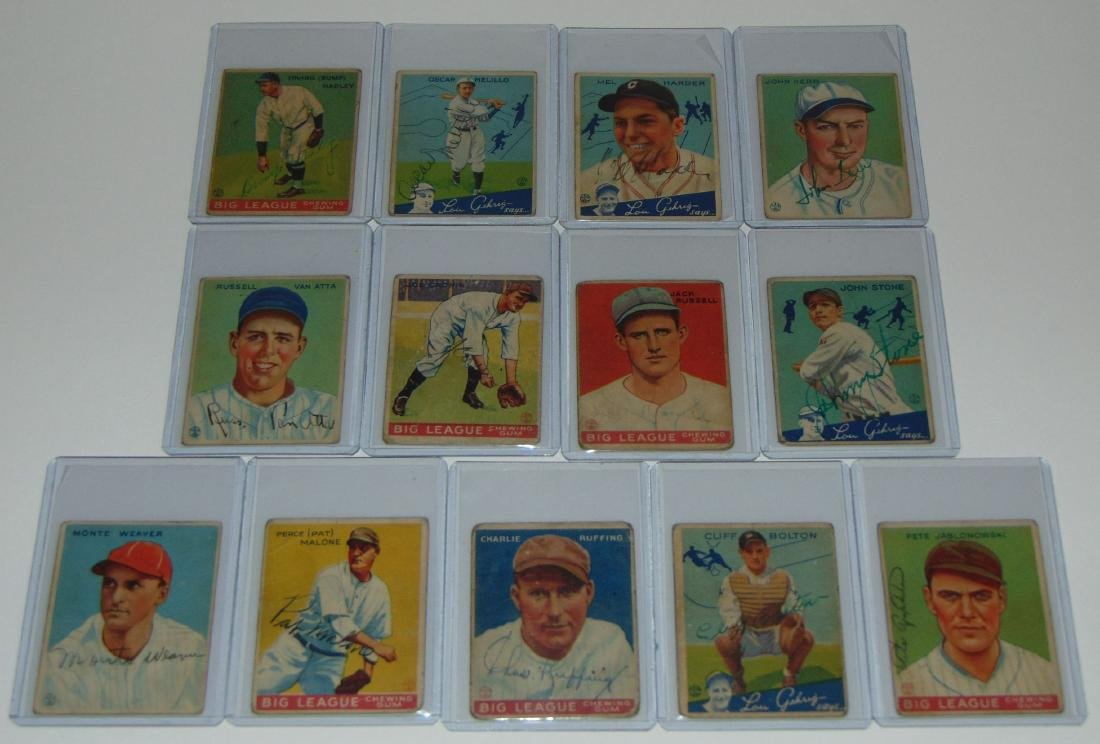 1933 Goudey. Lot of (13) Signed Cards.