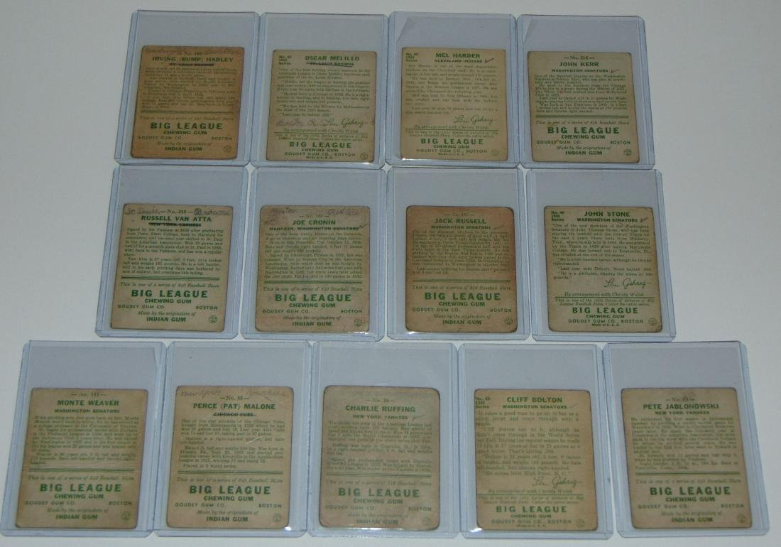 1933 Goudey. Lot of (13) Signed Cards. - 7