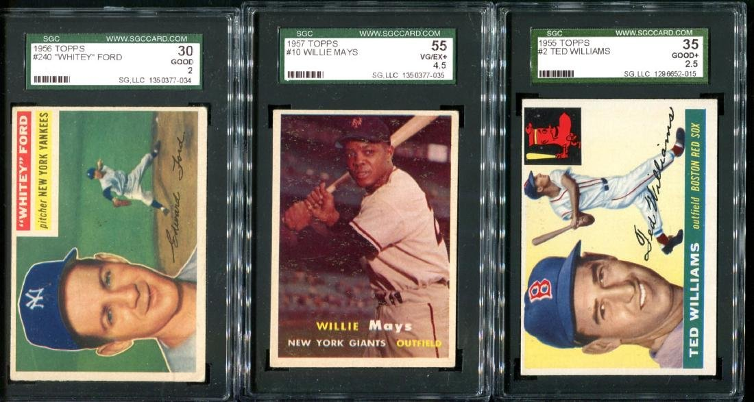 Lot of Three 1950's Topps Stars Graded.