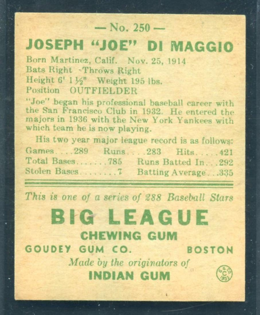 1938 Goudey Joe DiMaggio #250 Rookie Card - 2