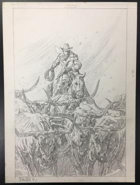 Bob Larkin, Original Western Pencil Illustration