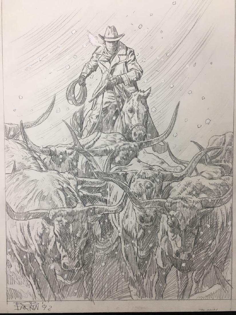 Bob Larkin, Original Western Pencil Illustration - 2