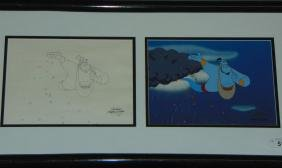 Disney Aladdin Production Cel and Drawing