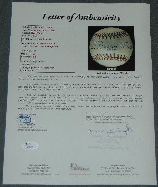"""A.C. """"Dazzy"""" Vance. Signed Baseball. - 4"""