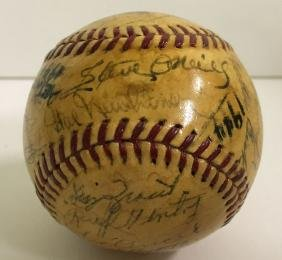 1944 Detriot Tigers Signed Team Baseball.