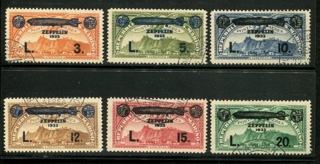 San Marino. C11-16 Used Zeppelin set.