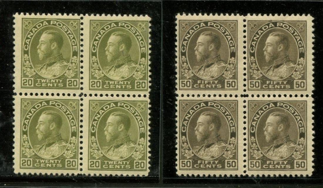 Canada #119-120 Mint Blocks of Four NH.