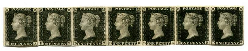Great Britain 1840 Penny Black.Strip of Seven.