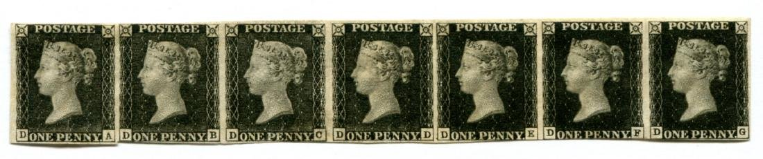Great Britain 1840 Penny Black.Strip of Seven.