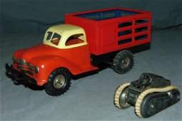 2 Piece Tin Litho Gama Toy Vehicle Lot Germany