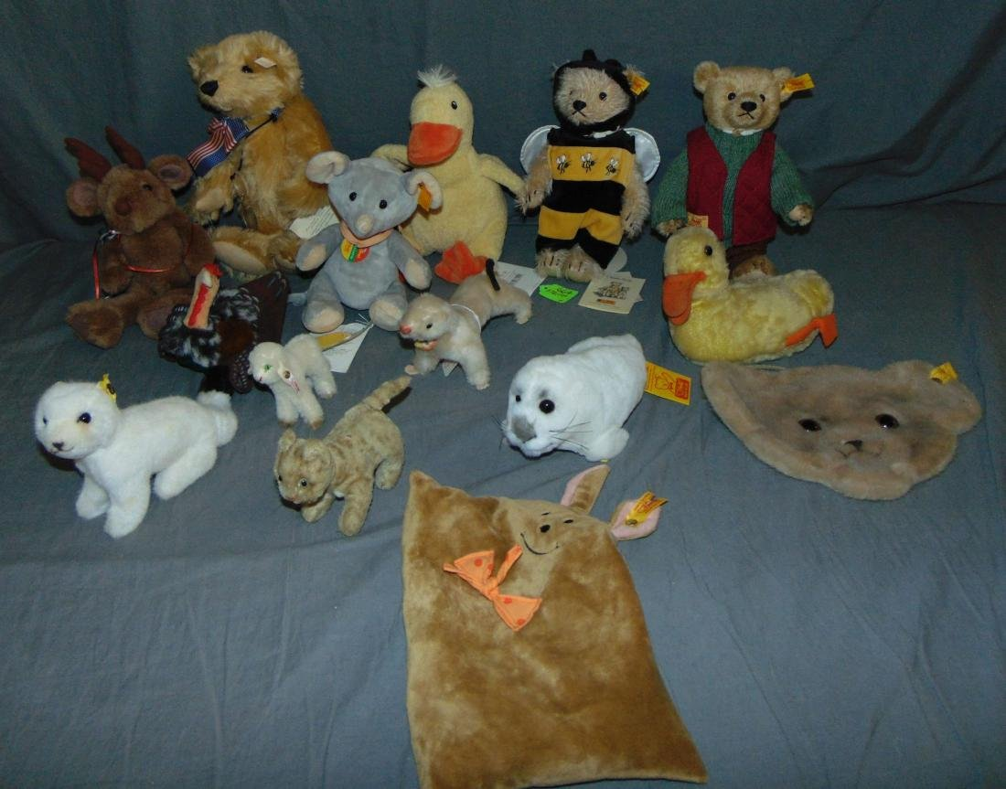 Steiff Mixed Lot. 14 Pieces.
