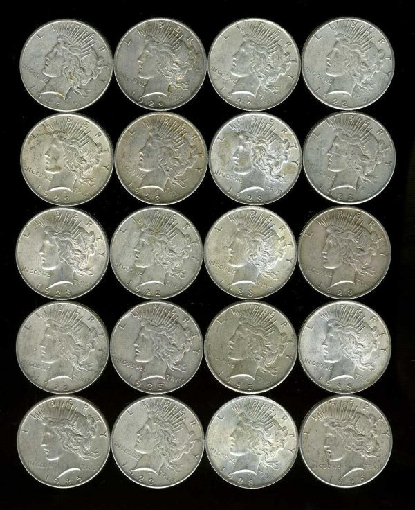 9: SILVER DOLLARS. LOT OF 20