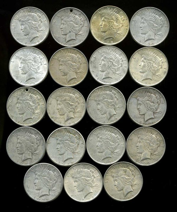 10: SILVER DOLLARS. LOT OF 19