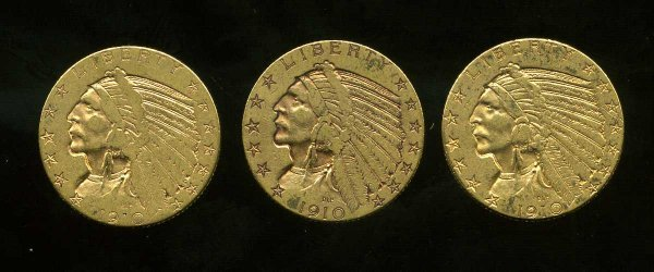 18: LOT OF 3 INDIAN HEAD $5 DOLLAR.