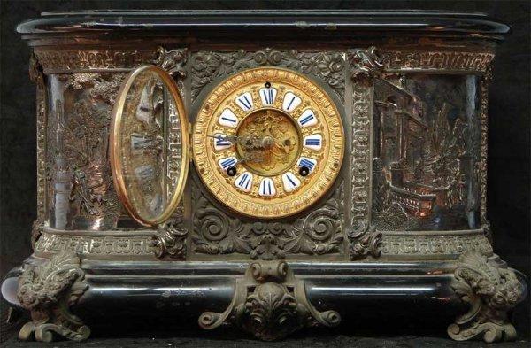 1085: ORNATE ANSONIA MANTLE CLOCK