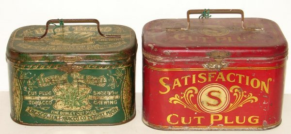 2018: TOBACCO TIN LUNCH BOX LOT OF TWO.