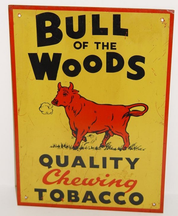 2164: VINTAGE BULL OF THE WOODS TOBACCO SIGN