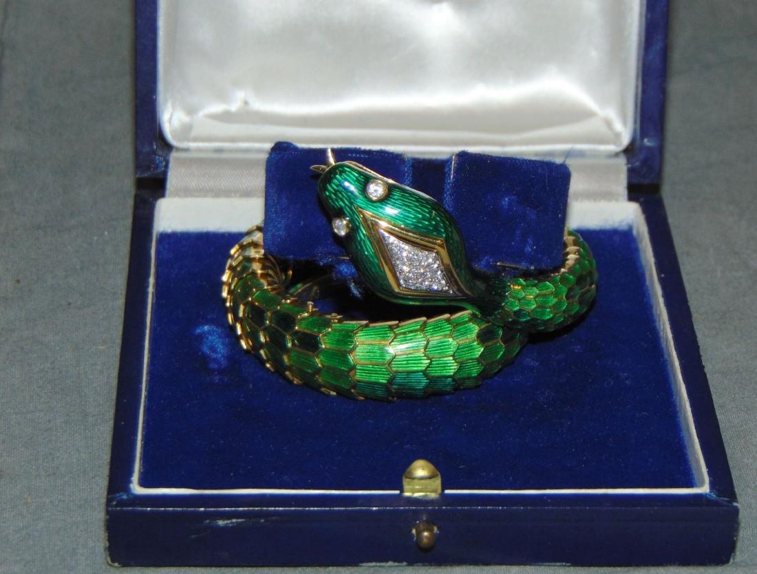 18K Yellow Gold Enamel Snake Bracelet.