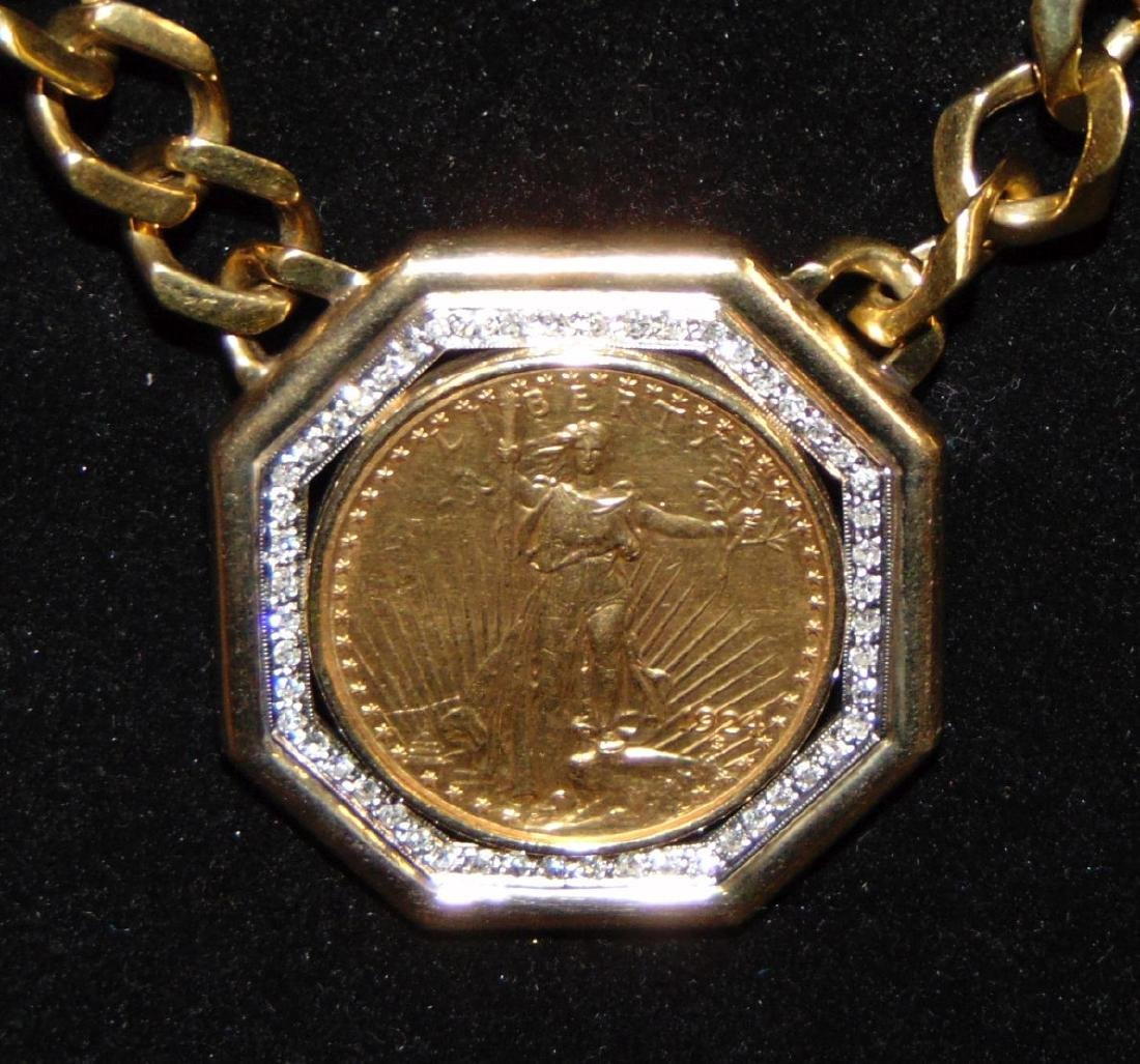 Custom $20 Double Eagle with Coin Necklace. - 2