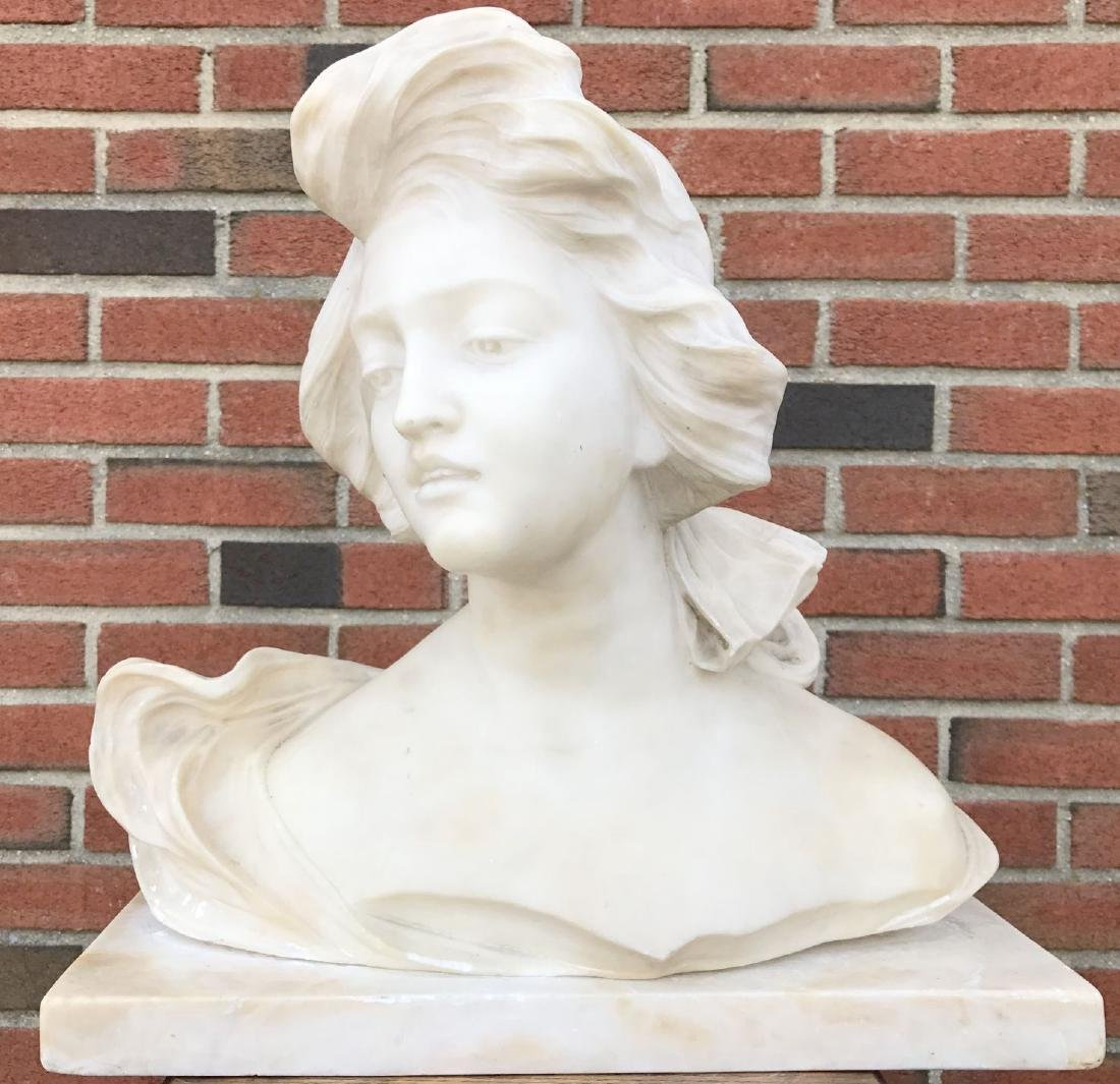 Alabaster Bust of a Woman, Unsigned