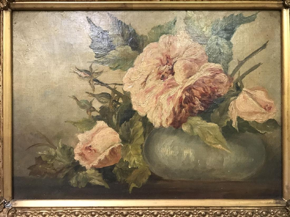 Floral Still Life, Oil on Canvas, Artist Signed - 2