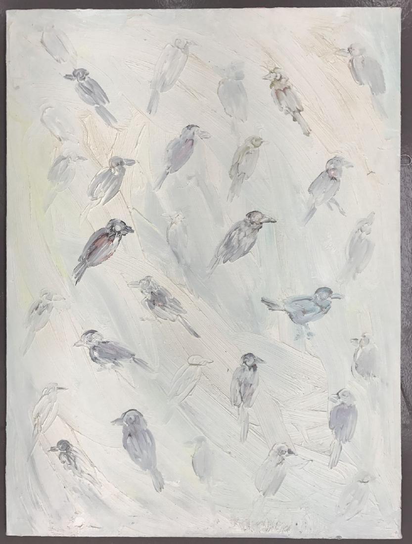 "Hunt Slonem, ""Birds"" Oil on Canvas Painting"