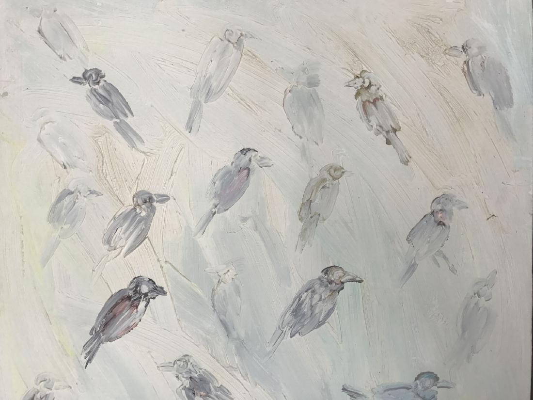 "Hunt Slonem, ""Birds"" Oil on Canvas Painting - 2"