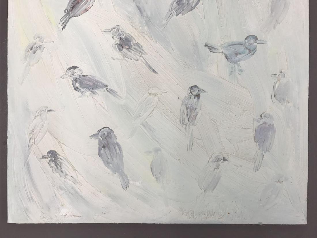 "Hunt Slonem, ""Birds"" Oil on Canvas Painting - 3"