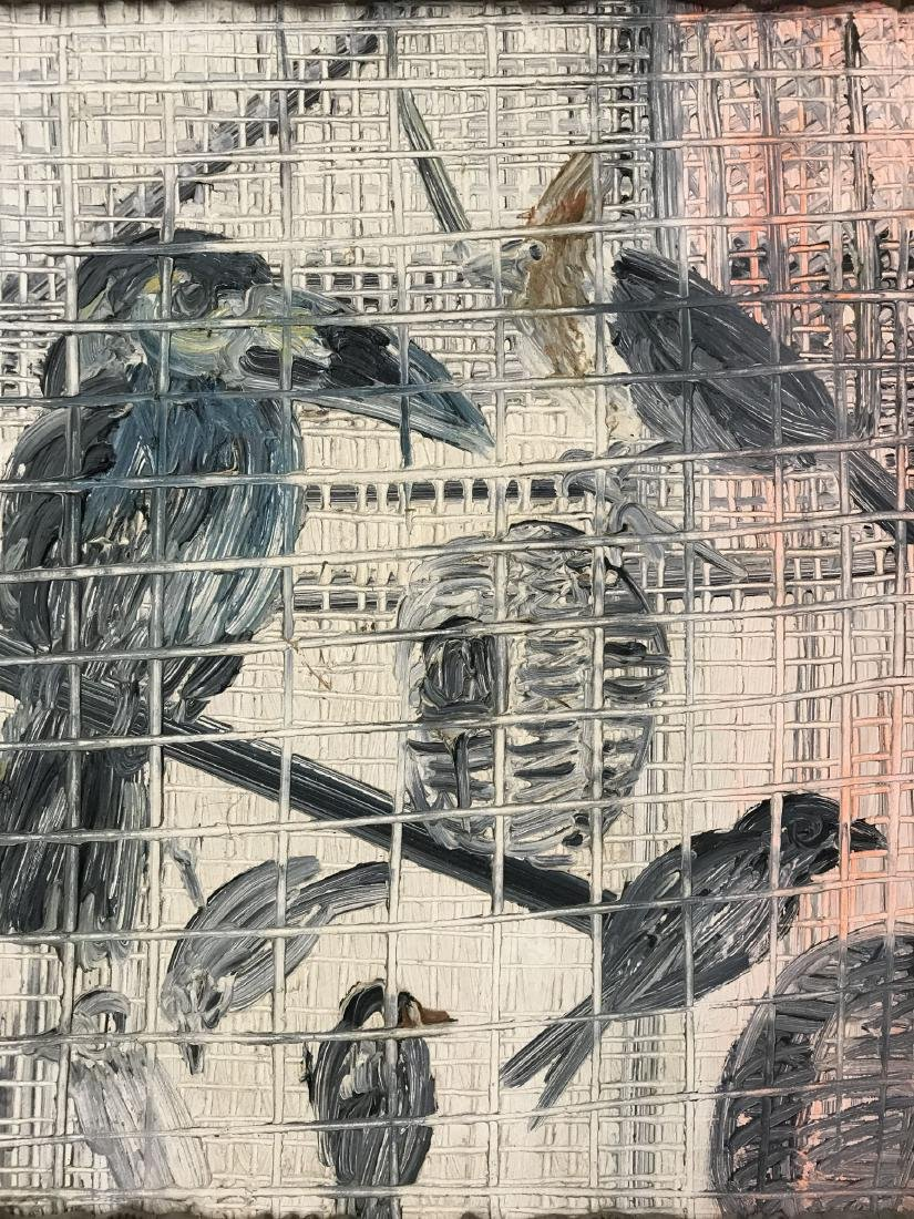 "Hunt Slonem ""Birds in Cage"" Oil on Canvas Painting - 2"