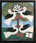 "Amos Ferguson, ""Feeding Birds"" Oil on Paperboard"