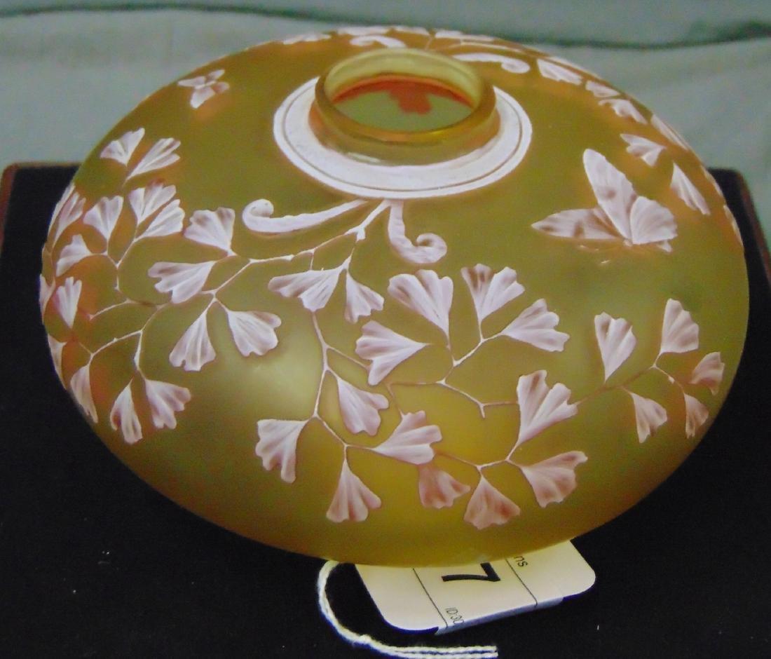 Thomas Webb Art Glass Cameo Bottle w/ Butterflies - 2