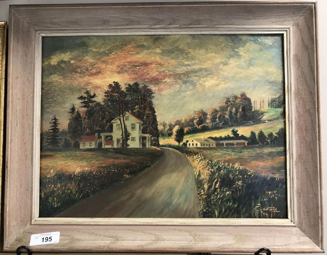 Oil on Board, Landscape, Signed H.P. Tark