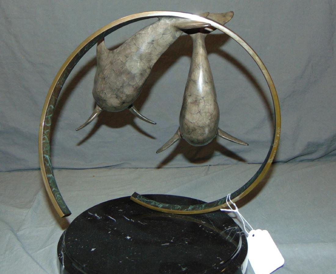 Ltd Ed Dolphin Bronze Sculpture Signed T. Snyder - 2