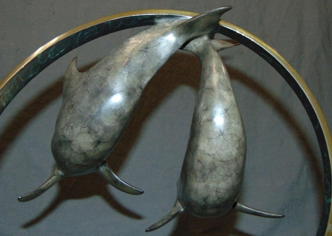 Ltd Ed Dolphin Bronze Sculpture Signed T. Snyder - 3