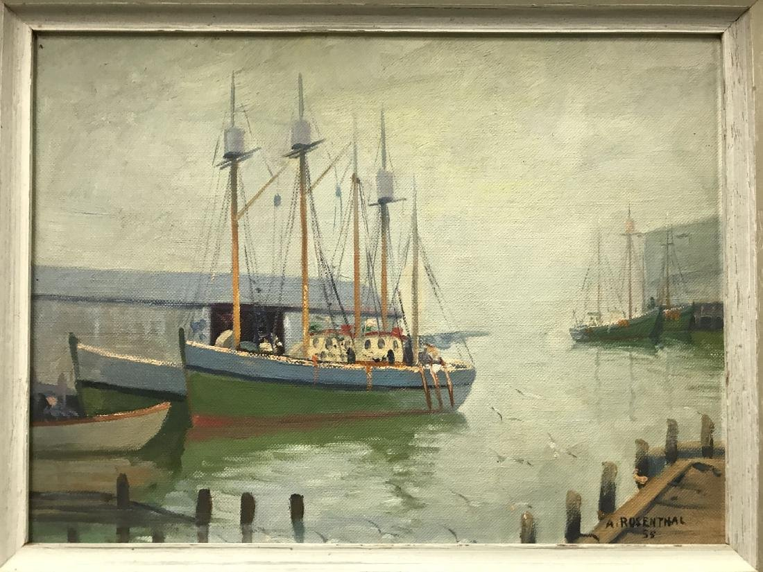 Abraham Rosenthal, Oil on Board, Fishing Boats - 2