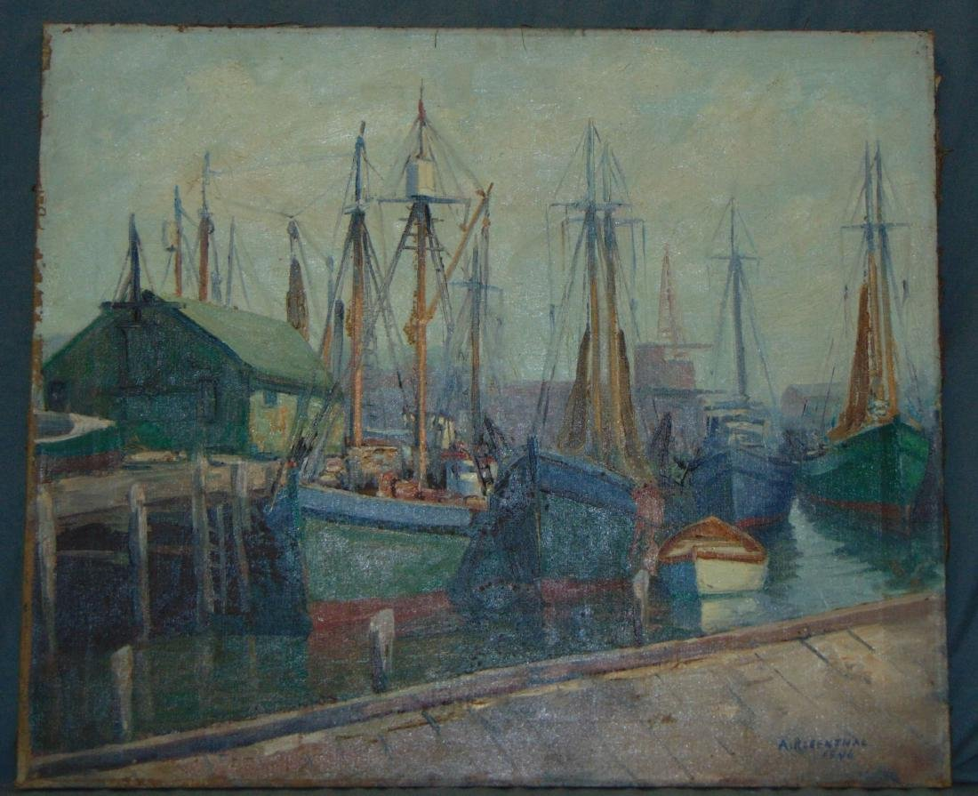 Abraham Rosenthal, Oil on Canvas, Fishing Boats